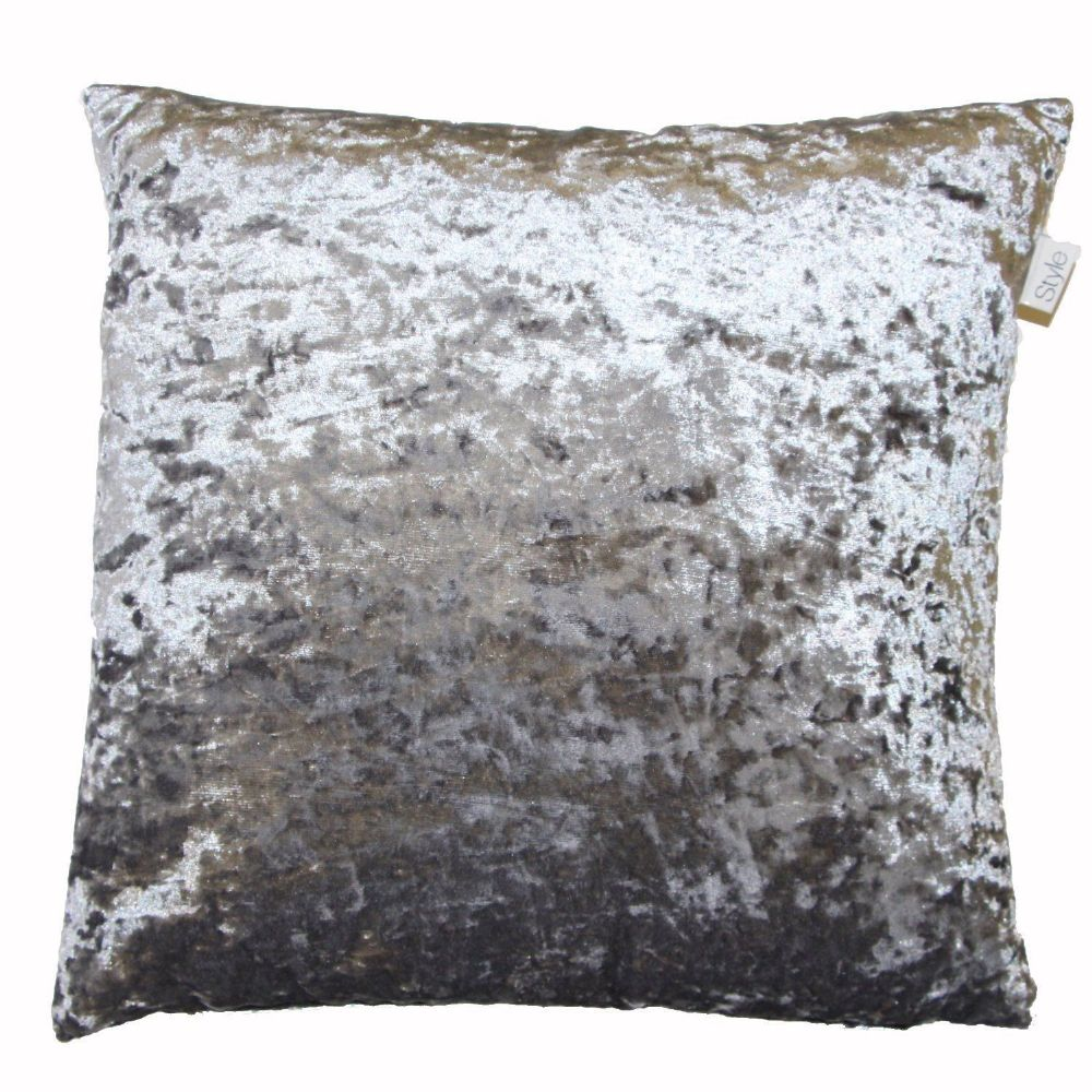 SHIMMERY STEEL GREY CRUSHED VELVET LARGE 24 CUSHION COVER 999 FREE POSTAGE